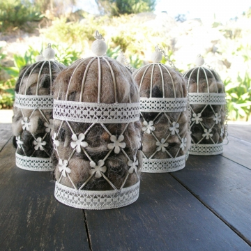 Decorative Birdcage Nester, Bird Nester, Llama Fibre. Nesting Material for Wildlife, Native Birds, Mini Bird Cage, Shabby Lantern, Rustic