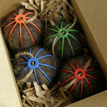 Bird Nesters, Llama Fibre Set of Four. Colourful Native Bird Nesters in Gift Box, Colourful Outdoor Decor, Bright Colours, Colourful Garden