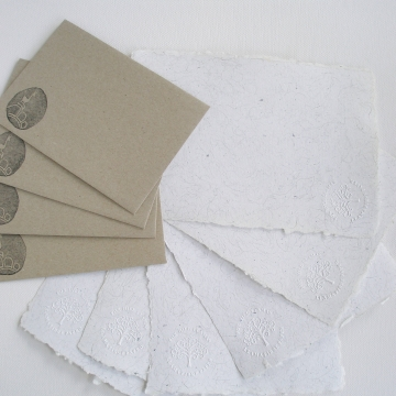 Writing Paper with Llama Fibre, Letter Set, Recycled Paper Sheets and Envelopes, Handmade Paper, Llama Gifts, Writing Set, Llama Products