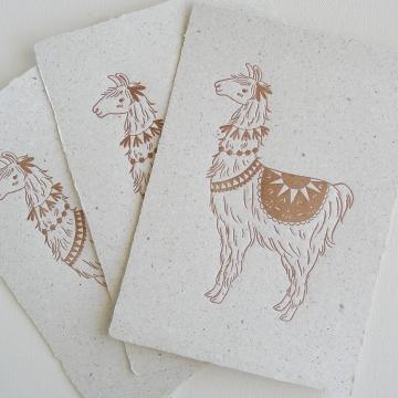 Llama on Poo Paper, Letterpress Print, Handmade Recycled Paper with Lama Poo, Llama, Llama Art, Nursery Art, Letterpress Art, Llama Gift