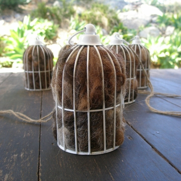 Bird Cage Nester, Nester, Bird Nester, Llama Fibre. Nesting Material for Wildlife, Native Birds, Outdoor lantern, Eco Friendly Gifts