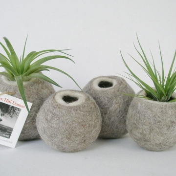 Set of 4 - Llama Fibre Vessels - Felt Pods - Grey Vessels - Felt Pod - Felted Pods - Grey Decor - Grey and White - Grey Accents - Grey Pod
