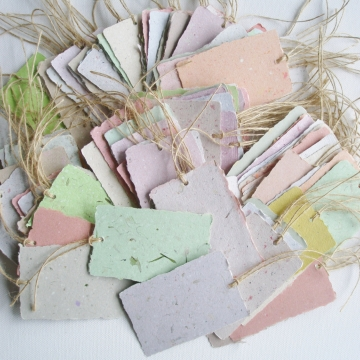 Box of 100 Handmade Recycled Paper Tags