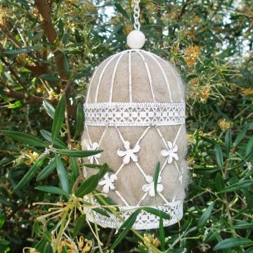 Decor Birdcage Nester, Bird Nester, Llama Fibre. Nesting Material for Wildlife, Native Birds, Mini Bird Cage, Romantic Garden Gift, Organic