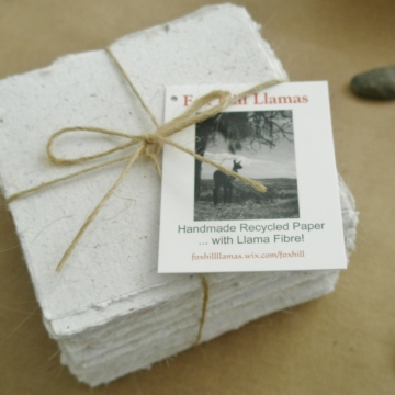 Llama Fibre Note Paper -  Handmade Paper - Recycled Note Paper - Hand Torn Note Paper - Boxed Note Paper - 100 Sheets - Box of Note Paper