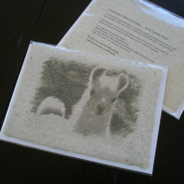 Novelty Card, Llama Poo Paper. Hand Made recycled paper with llama poo! Llama Lover Gift, Funny Card, Recycled Card, poo card, animal card