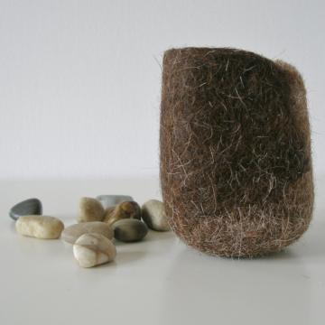 Felted Vessel - Llama Fibre - Felt Pod - Felt Decor - Organizer - Llama Lover Gift Idea - Uniqie Gifts