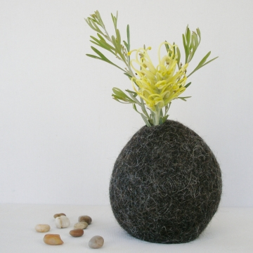 Flower Vase -  Llama Fiber Vase - Vase - Unique Decorator Vase - Natural Decor - Felt Pod Vase - Shelf Decor - Hidden Vase