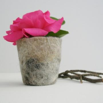 Llama Fibre Encased Vase, gift boxed. Felt Pod / Felted bowl / Organizer.