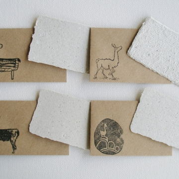 Llama Poo Card Set with Brown Envelopes, 4 Mini Handmade Recycled Llama Poo Paper Cards, hand stamped envelopes