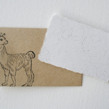 Mini Llama Fibre Card and Hand Stamped Envelope, Handmade Recycled Paper Card