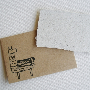 Recycled Paper with Llama Poo Mini Gift Card and Brown Envelope