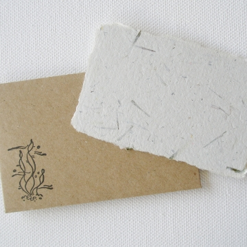 Recycled Mini Seagrass Gift Card  and hand stamped brown envelope