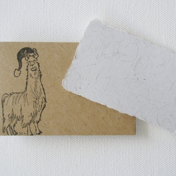 Christmas Llama Fibre Mini Card and Hand Stamped Envelope, Handmade Recycled Paper Card
