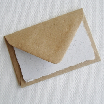 Llama Fibre Card and Hand Stamped Envelope, Mini Handmade Recycled Paper Card