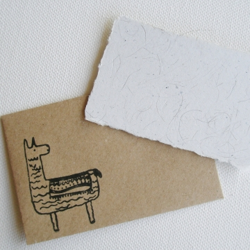 Small Card with Llama Fibre and Hand Stamped Envelope, Handmade Recycled Paper Llama Gift