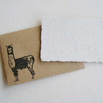 Mini Card with Llama Fibre and Hand Stamped Envelope, Handmade Recycled Paper Llama Gift