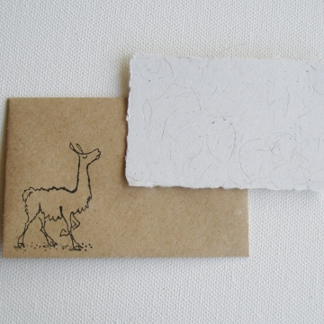 Llama Fibre Mini Card and Hand Stamped Envelope, Handmade Recycled Paper Card