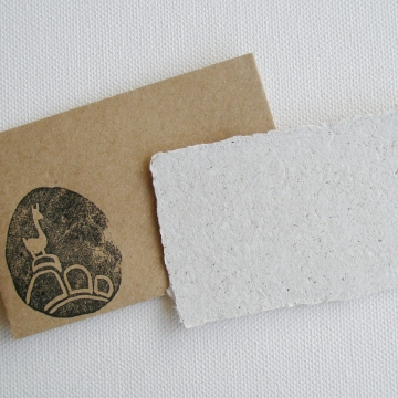 Handmade Recycled Llama Poo Paper Mini Gift Card with Brown Envelope