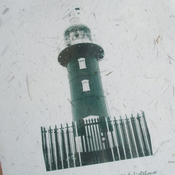 Lighthouse Print on Handmade Recycled Paper with Seagrass, South Mole, Fremantle, Western Australia