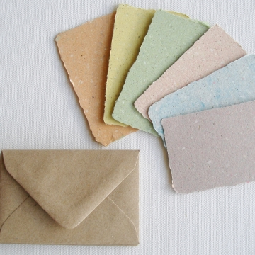 6 Coloured mini cards with llama poo and plain envelopes