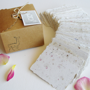 SAMPLE of 20 Handmade 2x3 Cards, Neutral, Blank Recycled Paper, Calling, Gift Card, Florist, Attendance, Letterpress, Wedding Place Cards
