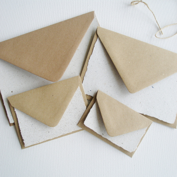 Sample paper with llama poo and plain brown envelopes
