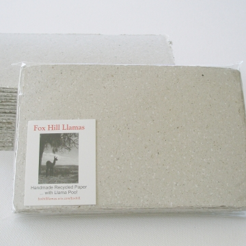 Handmade Recycled Paper with Llama Poo - 30 Sheets, Hand Torn and Deckle Edges
