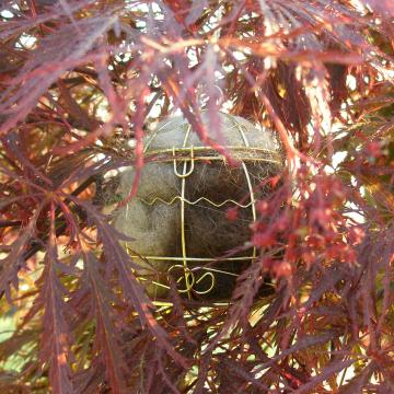 Bird Nester, Llama Fibre. Nesting Material to Attract Native Birds to your Garden. Outdoor lantern