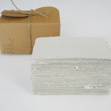 Box of Handmade Recycled Paper with Llama Poo - 100 Sheets, Hand Torn and Deckle Edges