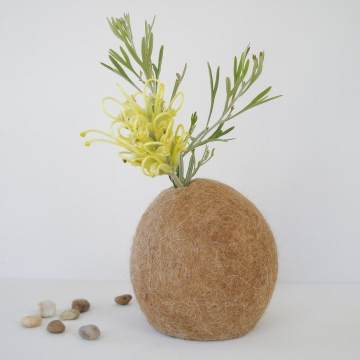 Vase -  Llama Fiber Vase - Stem Vase - Flower Vase - Natural Decor - Felt Pod Vase - Shelf Decor - Hidden Vase