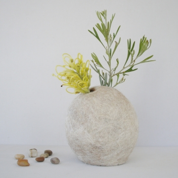 Stem Vase -  Llama Fiber Vase - Vase - Flower Vase - Natural Decor - Felt Pod Vase - Shelf Decor - Hidden Vase