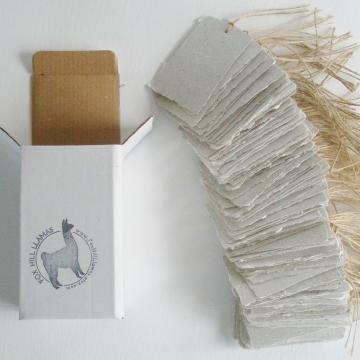 100 Handmade Recycled Tags - Llama Poo
