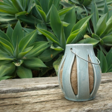 Green Ceramic Lantern, Bird Nester, Llama Fibre. Nesting Material, Attract Native Birds, Ceramic Lantern, Garden Decor, Bird Gifts, Gifts