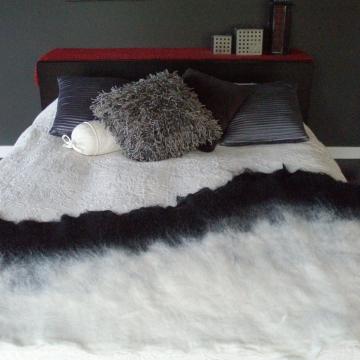 Alpaca Felt Bed Runner - Felted Black and White Rug - Alpaca Throw - Felt Mat - Eco Friendly Throw