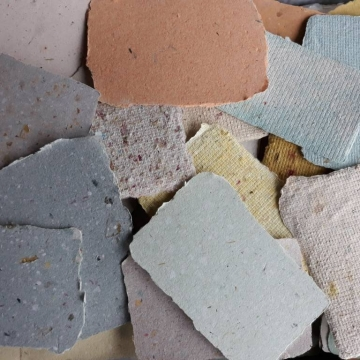 Box of 150 Scrap Paper Pieces / Cards for Art Projects, Handmade Recycled Paper