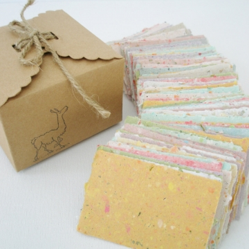Box of Hand-made Recycled Paper. 120 Pieces for Fairy Notes, Love Notes, Lunch Box Notes, Valentine's Gift, Love Note Paper, Lover's Gift