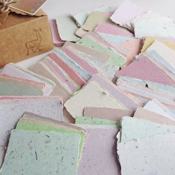 """Box of 200 Handmade Recycled Paper Cards - Blank 2x3"""""""