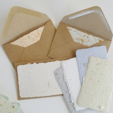 Hand made Cards with Envelopes, Gift Card Set, 20 Gift Cards, Calling Cards, Florist's card, Mini Blank Cards and Envelopes, Recycled Cards