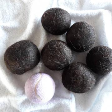 6 Dryer Balls, Baby Llama Fibre, Laundry Drying Balls in Drawstring Bag, Eco Alternative, Natural Laundry, Clothes Drying, Eco Friendly Home