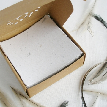 Note Paper, Emu Feathers, Luxury Note Paper, Handmade Recycled Note Paper, Hand Torn Note Paper, Office Gift, Boxed Note Paper, Valentine's