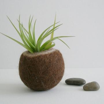Llama Fibre Vessel, Gift Boxed, Mens Gift. Felt Pod, Felted bowl, Organizer, Hand Felted Pod, Brown Decor, Rustic, Small Bowl, Mens Style