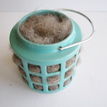 Teal Lantern, Bird Nester, Llama Fibre, Nesting Material, Teal Outdoor Lantern, Bird Gifts, Birds, Hanging Lantern, Teal Decor