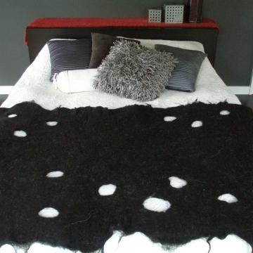 Bed Runner, Black Alpaca, Black Bedding, Black Bedroom Decor, Black Rug, Black Throw, Mat made with Alpaca Fibre, Black Bedroom