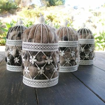 Decorative Birdcage Nester, Bird Nester, Llama Fibre. Nesting Material for Wildlife, Native Birds, Mini Bird Cage, Shabby Lantern, Rustic