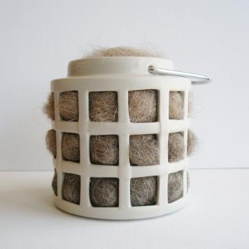Bird Nester, Llama Fibre. Nesting Material to Attract Native Birds to your Garden. Taupe Ceramic Lantern, Organic Garden Gift