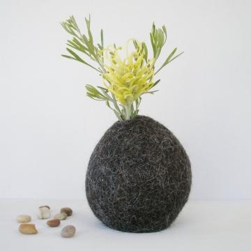 Flower Vase -  Llama Fiber Vase - Vase - Unique Decorator Vase - Natural Decor - Felt Pod Vase - Shelf Decor - Hidden Vase