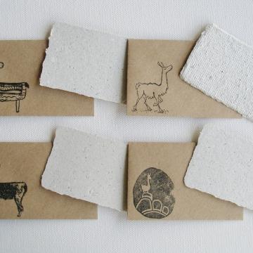 Llama Poo Card Set with Brown Envelopes, 4 Mini Handmade Recycled Llama Poo Paper Cards, hand stamped envelopes