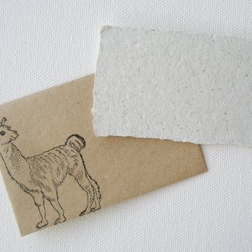 Llama Poo with Hand made Recycled Paper Mini Gift Card with Brown Envelope