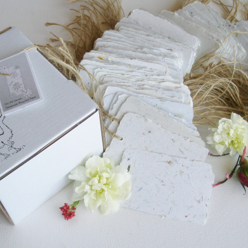 Box of 100 Handmade Recycled Paper Tags - Neutral Tones